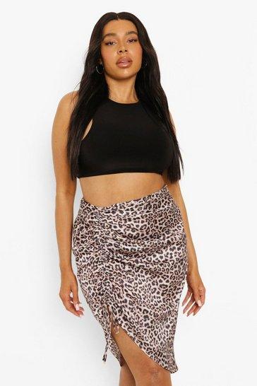 Brown Plus Leopard Print Ruched Midi Skirt