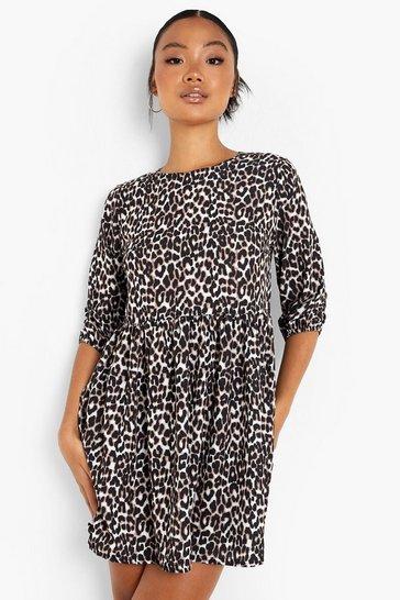 Natural beige Petite Leopard Print Woven Smock Dress