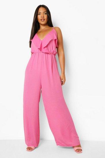 Pink Plus Ruffle Culottes Jumpsuit