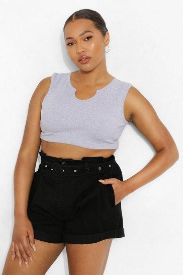 Black Plus Belted Paperbag Denim Shorts