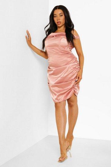 Blush pink Plus Satin Bardot Ruched Bodycon Dress