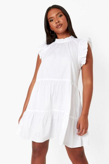 White Plus Ruffle Tiered Smock Dress