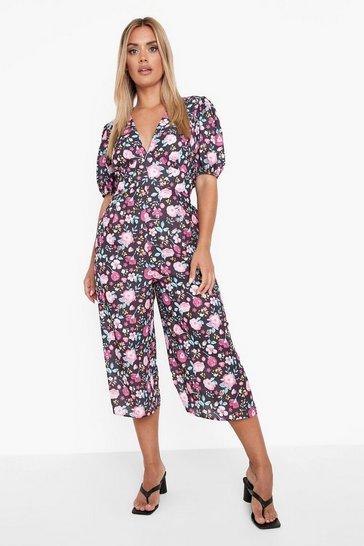Black Plus Floral Wide Leg Culotte Jumpsuit