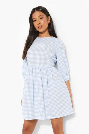 Blue Petite Gingham Print Woven Smock Dress