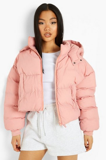 Rose pink Petite Hooded Oversized Crop Puffer