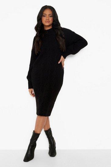 Black Petite Balloon Sleeve Cable Knit Midi Dress