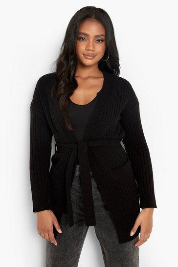 Black Petite Belted Rib Cardigan