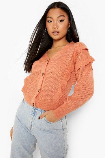 Peach orange Petite Scallop Ruffle Detail Cardigan