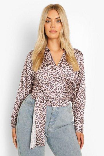 Brown Plus Leopard Print Wrap Satin Blouse