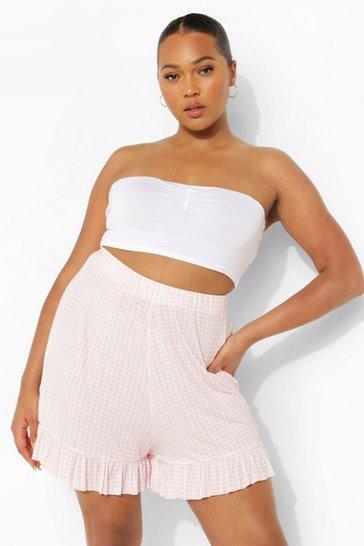Blush pink Nude Plus Gingham Ruffle Hem Flippy Short