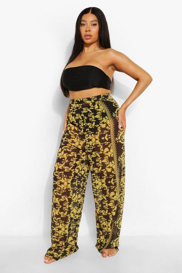 Black Plus Scarf Print Beach Trousers