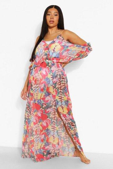 Multi Plus Animal Tropical Beach Maxi Dress