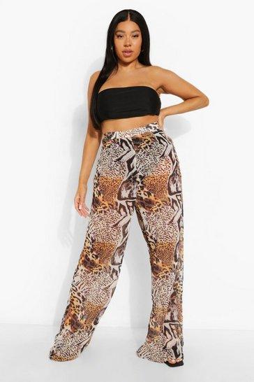 Brown Plus Animal Print Beach Trousers