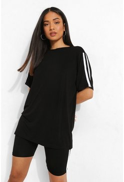 Black Petite Oversized T-shirt & Cycling Short Set