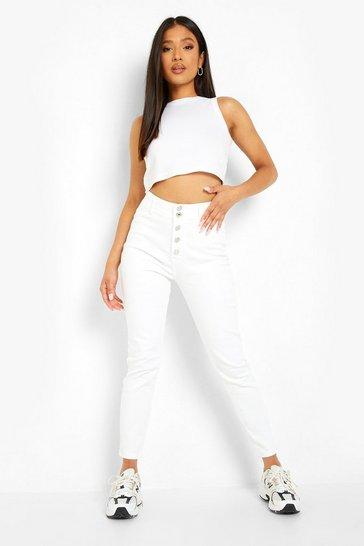White Petite Button Front Skinny Disco Fit Jean