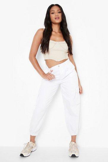 White Petite Denim Elasticated Cuff Pocket Joggers