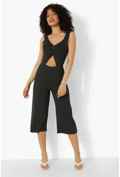 Petite Spot Print Cut Out Detail Jumpsuit, Black negro