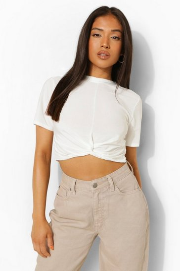 White Petite Slinky Knot Front Crop Top