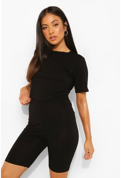 Black Petite Curved Hem Top & Cycle Short Set