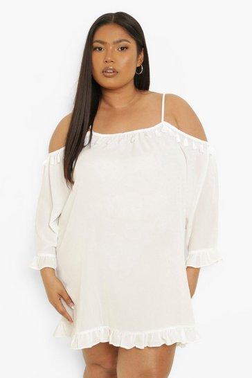 White Plus Tassel Woven Ruffle Hem Shift Dress