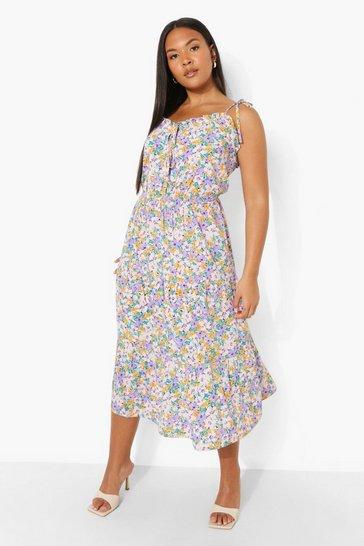 Pink Plus Strappy Ditsy Floral Midi Dress