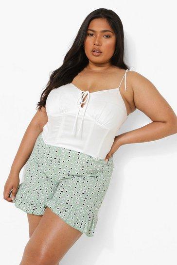 Sage green Plus Printed Frill Hem Woven Shorts