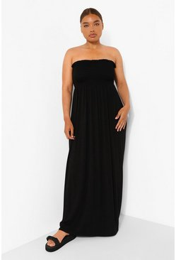Plus Shirred Bandeau Maxi Dress, Black nero