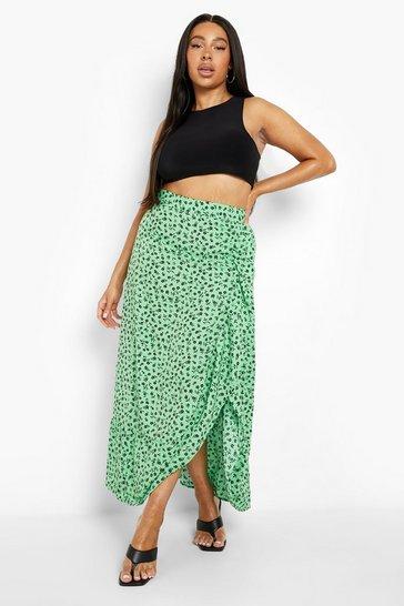 Green Plus Bright Floral Ruffle Maxi Skirt
