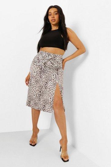 Plus Leopard O Ring Wrap Midi Skirt