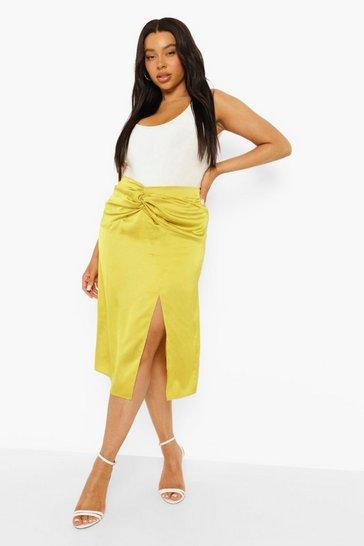 Chartreuse yellow Plus Twist Knot Front Satin Midi Skirt