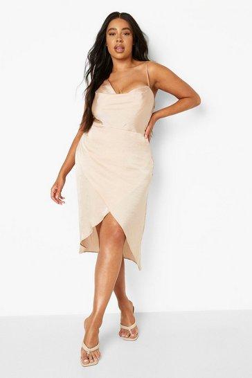 Champagne beige Plus Satin Wrap Midi Dress