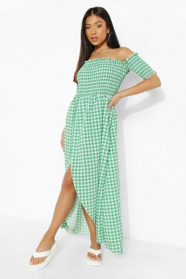 Green Petite Gingham Shirred Wrap Front Maxi Dress