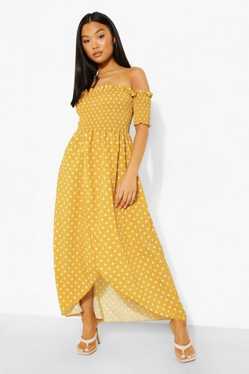 Petite Spot Shirred Wrap Front Maxi Dress