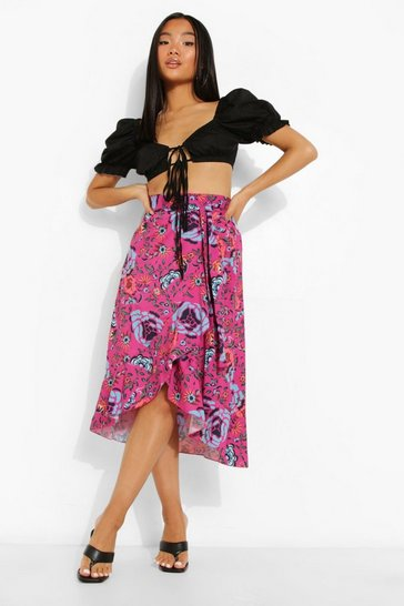 Pink Petite Tie Front Floral Ruffle Midaxi Skirt