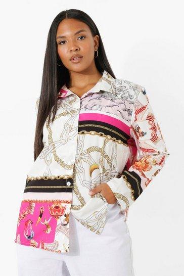 Pink Plus Scarf Print Oversized Shirt