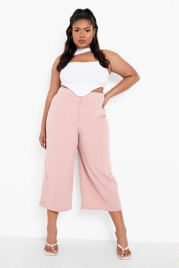 Blush pink Plus Culottes Trouser