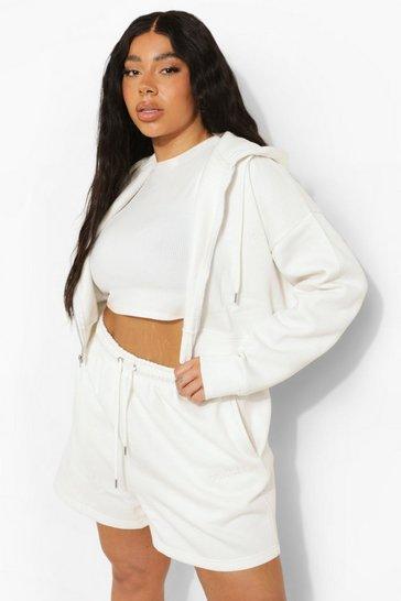 Ecru white Plus Cropped Zip Hoodie And Short Set