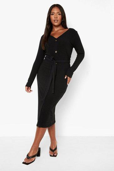 Black Plus Knitted Rib Button Through Midi Dress