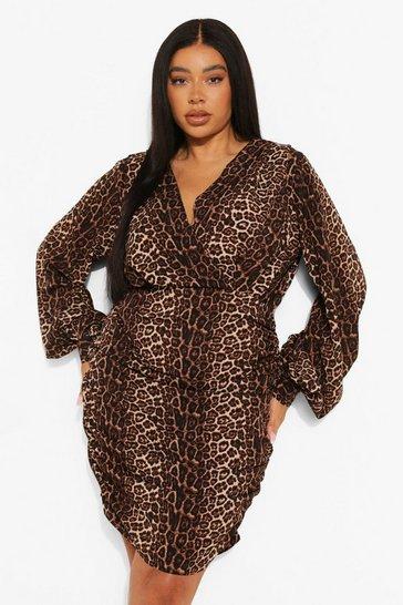 Plus Satin Leopard Ruched Bodycon Dress