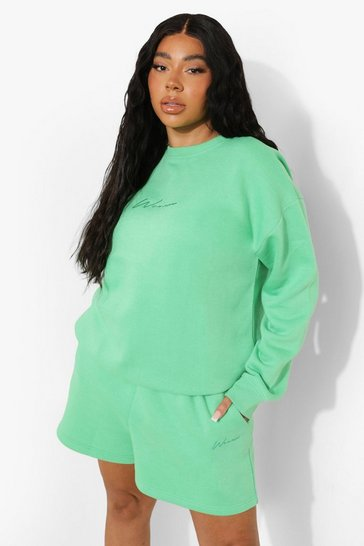 Green Plus Woman Embroidered Sweat Short Tracksuit