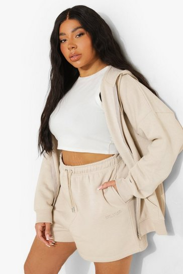 Sand beige Plus Basic Embroidered Jersey Short