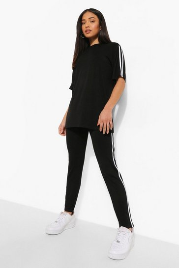 Black Petite Short Sleeve Side Stripe Lounge Set