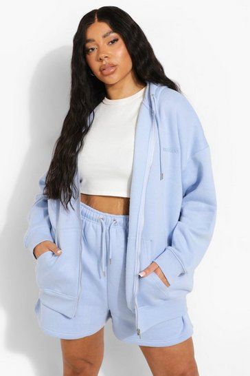 Blue Plus Oversized Zip Hooded Short Tracksuit