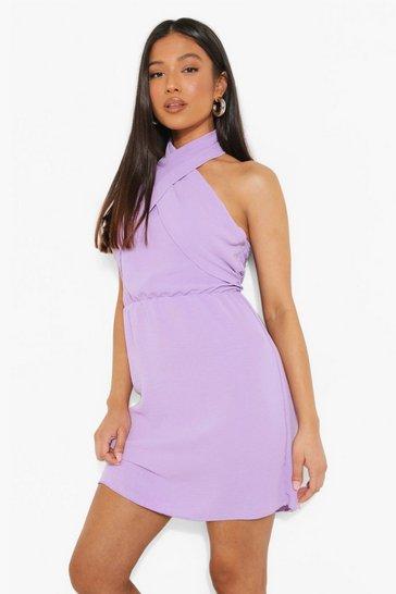 Lilac purple Petite Linen Look Cross Front Mini Dress