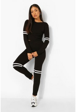 Black Petite Side Stripe Cropped Loungewear Set