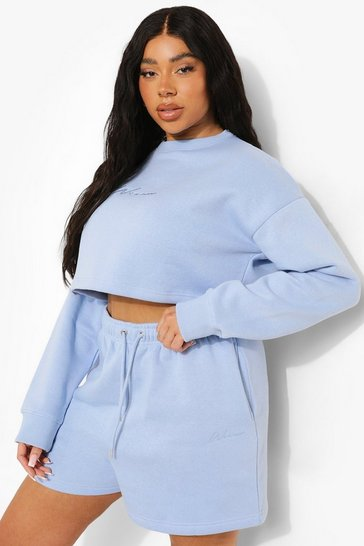 Blue Plus Basic Embroidered Jersey Short