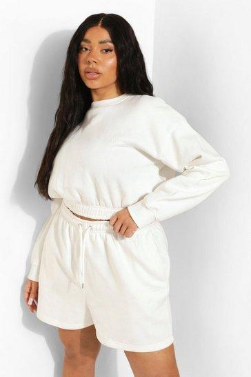 Ecru white Plus Cropped Sweater Short Tracksuit