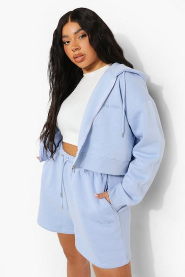 Blue Plus Cropped Zip Hoodie And Short Set