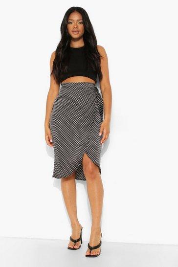 Black Petite Printed Satin Wrap Skirt