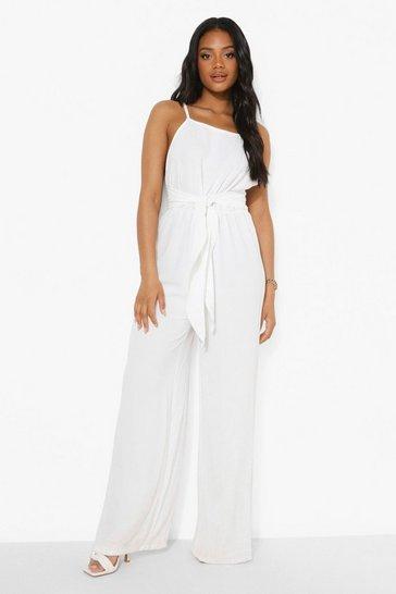 White Petite Linen Look Tie Waist Jumpsuit